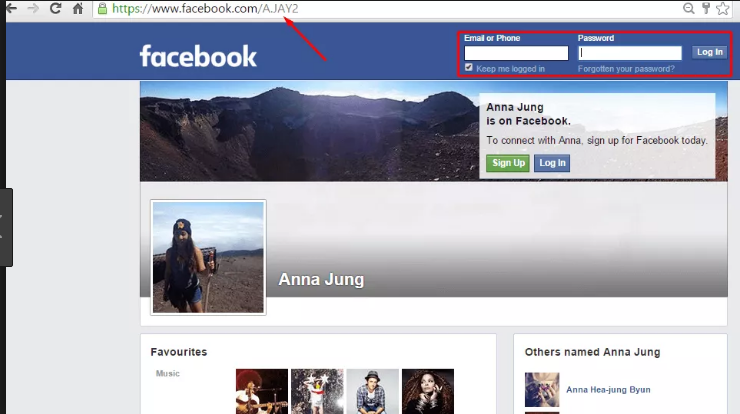 View facebook profiles without signing up